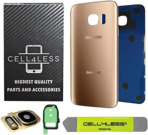 CELL4LESS Compatible Back Glass Cover Back Battery Door w/Custom Removal Tool & Installed Adhesive Replacement for Samsung Galaxy S7 - All Models G930-2 Logo - OEM Replacement (Gold)