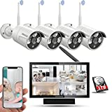 【Expandable 8CH&Audio】Wireless Home Security Camera Systems Outdoor With 10inch Screen Monitor,Wireless Complete Video Surveillance Camera System with Hard Drive,4pcs Wireless Weatherproof Cameras