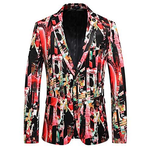 Chyoieya Chaqueta de esmoquin floral para hombre impresa Slim Casual Blazer Impreso Plus Size Dinner Prom Wedding Blazer Chaqueta