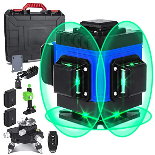 AIRSEE SelfLeveling Laser Level 2020 Upgrade 3D Green Blue Beam 3x360 Cross Rechargeable 12 Line Laser with Remote Control –Three Plane Leveling Line Laser Level with Tripod Pivoting Base