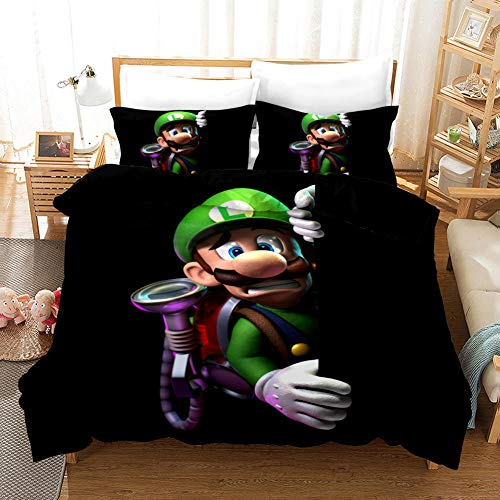 GuoDamei Duvet Cover 135x200 cm Super Mario 2 Pcs Bedding Singble Bed Set with Zipper Closure 1 Microfiber Quilt Cover and 1 Pillowcases 50x75 cm Ultra Soft Hypoallergenic