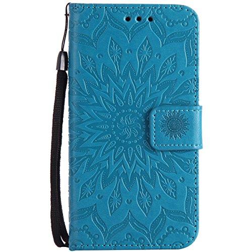 Ysimee Coque Nokia N650, Étui Portefeuille Magnétique en Cuir Fleur en Relief Folio Housse Con Antichoc TPU Bumper Poche de Cartes Fonction Support Coque à Rabat pour Nokia N650,Bleu