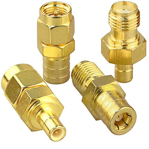 Kit de conector SMA a SMB Adaptador coaxial de antena SMB a SMA Macho a hembra Kits de conector coaxial RF para cable de extensión Juego de 4 tipos