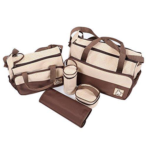Popamazing–Set di pannolino del bambino fasciatoio multifunzione borsetta grande impermeabile Baby Bags for Mummy (confezione da 5, marrone)