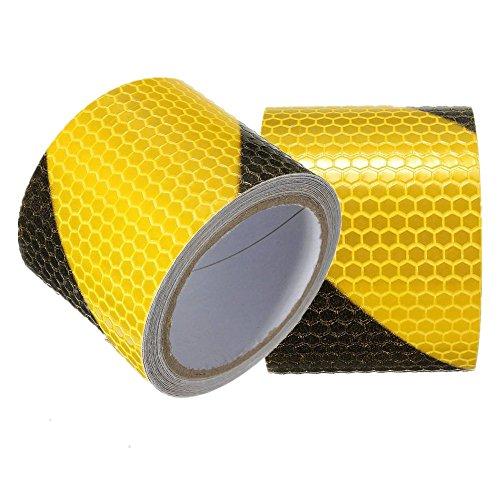 Preisvergleich Produktbild Tuqiang® 3M Schwarz mit Gelb Twill Reflektierende Band Selbstklebende Sicherheit Warnung Conspicuity Nacht Reflektor Streifen Tape Film Aufkleber