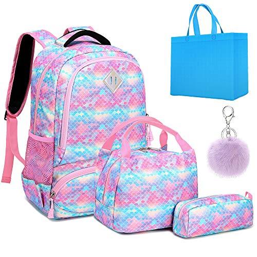 Girls Backpack Kids School Bookbag 3 in 1 Set Glitter School Bag for Elementary