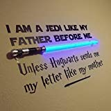 Vinyl Wall Decal Jedi Like My Father Unless Hogwarts Sends Me a Letter Like My Mother Star Wars and Harry Potter Themed Parody Design