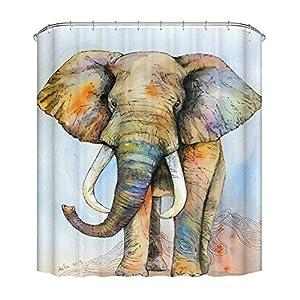 Fangkun Shower Curtain Art Bathroom Decor Painted Elephant Pattern - Waterproof Polyester Fabric Bath Curtains Set - 12pcs Shower Hooks - 72 x 72 inches