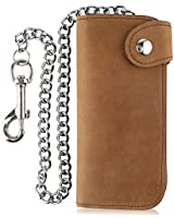Men's Bifold Vintage Long Style Cow Top Grain Leather Steel Chain Wallet,Made In USA,Snap closure,crazy horse brown,PU473