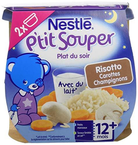 Nestlé Bébé P'tit Souper Risotto aux Champignons - Plat Légumes et féculents dès 12 mois - 2 x 200g - Pack de 8 ( 16 Plats )