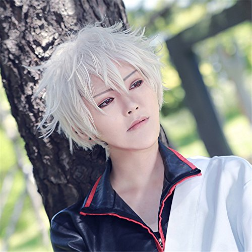 LanTing Cosplay Perücke Gintama Silver White Perücke Corta Styled Frauen Cosplay Party Fashion Anime Human Costume Full wigs Synthetic Haar Heat Resistant Fiber