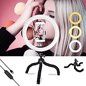 Anillo aro de luz de 10 Inch con trípode led Ring Light, 3 Colores de luz y 10 Niveles de Brillo para Selfie, iluminación para Maquillaje, Live Stream, Youtube
