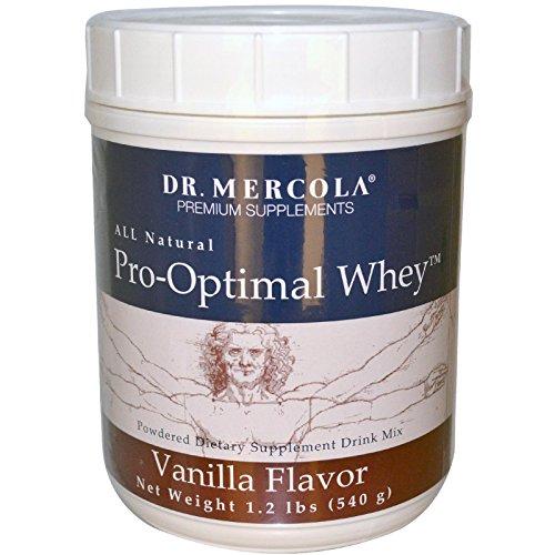 Dr. Mercola, Pro-Optimal Whey Vanilla Protein Powder, 19.2 oz (1 LB. 3.2 oz), BCAA, Dissolves Easily, Natural Flavors, non GMO, Soy-Free, Gluten Free