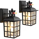 2-Pack Motion Sensor Outdoor Wall Lanterns, Dusk to Dawn Exterior Light Fixture Photocell Wall Mount, Black Wall Sconce Outside Motion Lights for House Porch Garage, Motion Activated