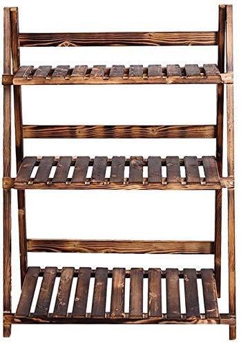 MingXinJia Blumenständer, Blumentopfständer, Lagerregal, Bonsai-Ständer mit 3 Vertikalen Treppenstufen-Klappständern für Innen- und Außendekoration70 x 38 x 96 cm