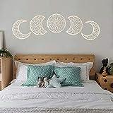Taloit Adornos decorativos de madera para colgar en la fase lunar, 5 piezas, decoración de pared de madera para dormitorio sobre la cama, ideal para decoración de la cama