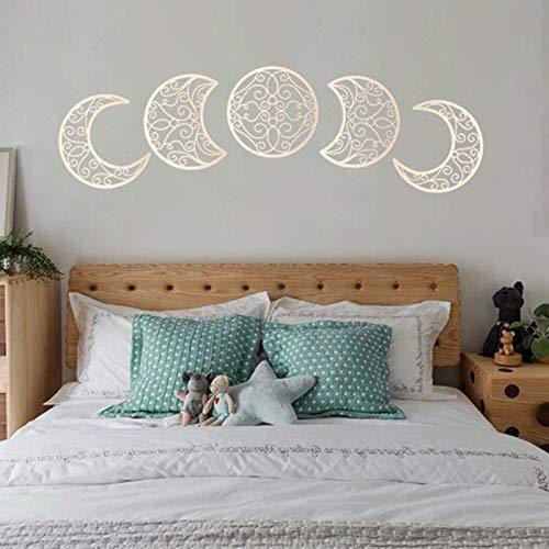 Syfinee 5pcs Moon Phase Wall Hanging Decor Wooden Bedroom Wall Decor Above Bed DIY Headboard Ideas Above Bed Decor