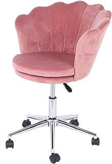 EBTOOLS - Silla giratoria ajustable para oficina, con respaldo de terciopelo en forma de flor, color rosa