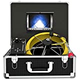 Pipe Inspection Camera, Snake Cam with DVR Drain Sewer Camera IP68 Waterproof Industrial Pipeline Endoscope 50M/165FT Cable Video Inspection Scope with 7 Inch TFT LCD Color Monitor(Free 8GB SD Card)