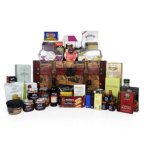 Large Replica Vintage Wooden Chest Hamper with 40 Delicious Food Items including 2 Bottles of Wine - Ideas for Valentines, Mother's Day, Birthday, Wedding, Business and Corporate