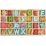 112 letras madera natural letras de rompecabezas de madera de la A a la Z, 26 Alfabeto Madera,...