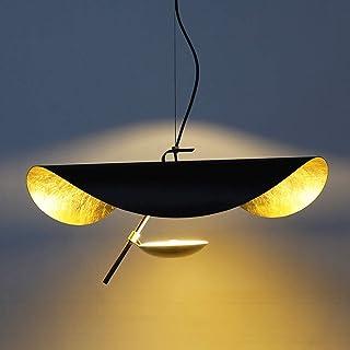 LED Pendentif En Forme De Feuille Chapeau Doré Suspension Lampe Hauteur Réglable Plafond Suspension Café Bar Chambre Salon...
