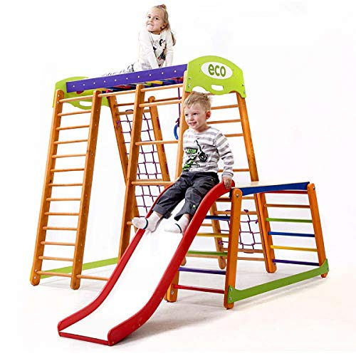 Centro de actividades con tobogán ˝Karapuz-Plus-1-1˝, red de escalada, anillos, escalera sueco, campo de juego infantil, Juguetes