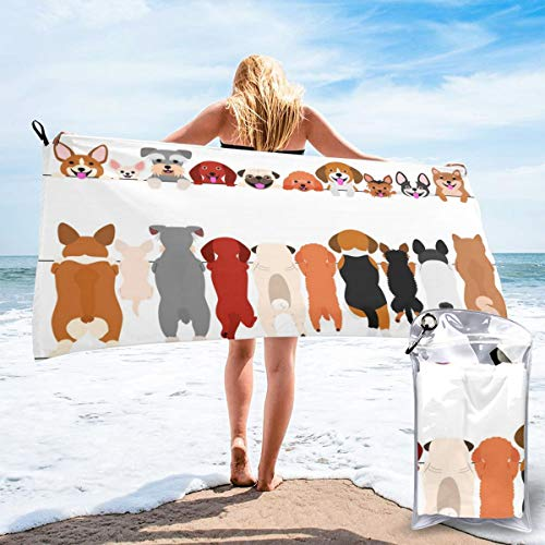 Quick Dry Microfiber Bath Towels Funny Dogs Standing and Smiling Beach Towels Women/Kids/Man Cute Puppy Front and Back Bath Towel Extra Large 31.5'' X 63'' for Hiking/Swimming/Camping/Shower