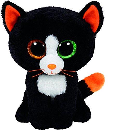 Carletto Ty 41121 Ty 41121-Frights-Katze schwarz, 15 cm, mit Glitzeraugen, Beanie Boo's, Halloween limitiert