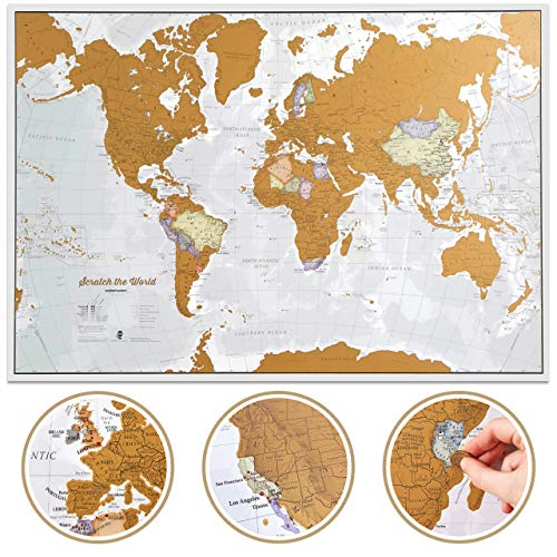 Scratch The World Travel Map - Scratch Off World Map Poster - X-Large 23 x 33 - Maps International - 50 Years of Map Making - Cartographic Detail...