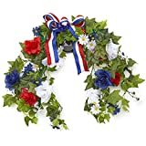 The Lakeside Collection Solar Power Lighted LED Accent Seasonal Mailbox Swag - Patriotic