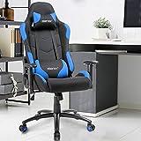 Gamingstuhl Sportsitz Schreibtischstuhl Gaming Chair Computerstuhl Chefsessel Ergonomisches Design mit Verstellbaren Armlehnen Blau