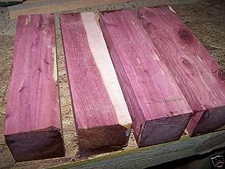 "Eastern Red Cedar Lathe Turning Exotic Wood Bowl Blanks Blocks, 3"" X 3"" X 12"", Set of 4"