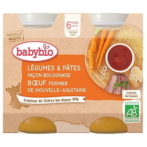 Babybio Petits Pots Légumes Pâtes Façon Bolognaise Bœuf Fermier de Nouvelle-Aquitaine 2x200 g - 6+ Mois - BIO