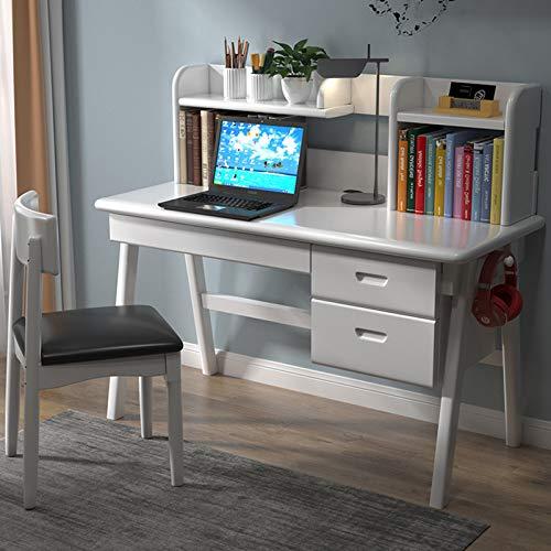 Escritorio de oficina en casa de madera maciza moderna, Escritorio de computadora con cajones, Estación de trabajo de estudio compacta, Tocador multifuncional para hogar y oficina, ahorra espacio