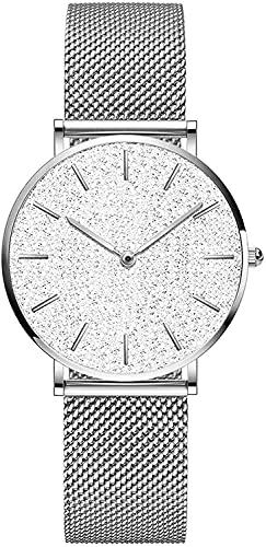QHG Relojes de Las Mujeres Ultra Delgado Reloj de Pulsera a Prueba de Agua, Cielo observa el Rostro de Big Estrellado con Acero Inoxidable de la Banda, Regalo para Las Mujeres (Color : Silver)