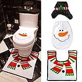 MMTX Weihnachten Toilettensitzbezug,3 stücke Schneemann Design mit Sitzbezug & Teppich & Gewebe & Plüsch WC-Sitzkissen Deckel für zum Weihnachtsfeierzubehör