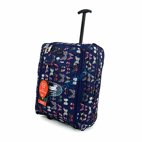 GSS , Trolley Unisex adulti Multicolore Dark blue butterfly H 48 x(Handle up 52 x cm) W 19 x L 35