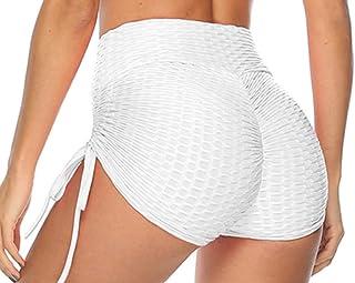 eBoutik - Women's High Waist Honeycomb Ruched Drawstring String Shorts - Tummy Control/Bum Lifting - Perfect for Summer, G...