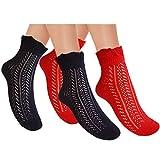 JHosiery Damen Pointelle Baumwolle Kurz Socken Mit Rüschen Top_Größe M_2 Paar=Schwarz+Rot