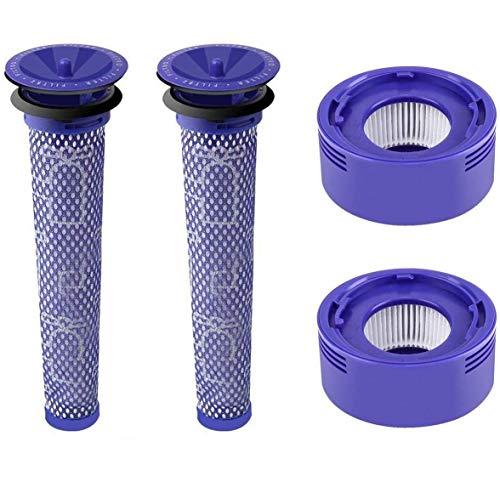 Wessper 2X Vorfilter und 2X HEPA Nachmotorfilter für Dyson V8 V7 Staubsauger, Ersatzteile Filter Zubehör Set