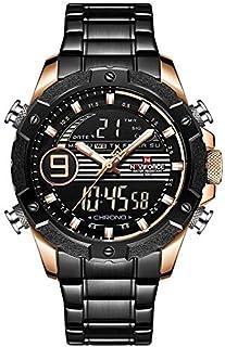 ساعة انالوج من نافي فورس للرجال بمينا اسود وسوار ستانلس ستيل - NF9146S-RGRGB