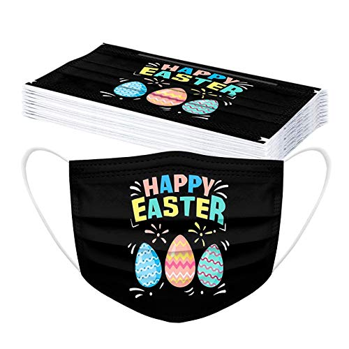 Easter Disposable Face_Mask for Adults Coronɑvịrus Protectịon Rabbit Easter Eggs Face_Masks Adjustable Breathable 3ply
