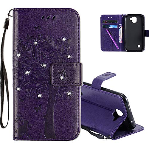 COTDINFOR LG K3 2017 Hülle für Mädchen Elegant Retro Premium PU Lederhülle Handy Tasche mit Magnet Standfunktion Schutz Etui für LG K3 2017 Purple Wishing Tree with Diamond KT.
