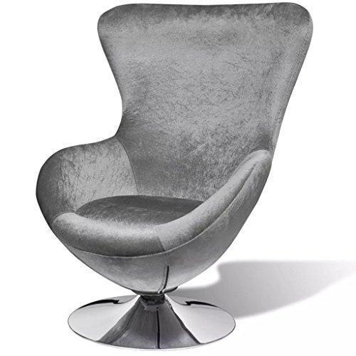 Tidyard Drehsessel Ohrensessel Sessel Ergonomisch in Ei-Form mit Kissen,Relaxsessel Fernsehsessel Stoff Lila/Schwarz/Silber Optional, 64 x 64 x 86 cm (B x T x H)