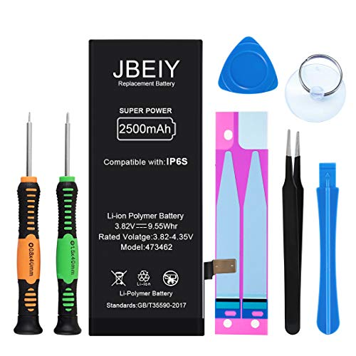 JBEIY Battery Compatible with iPhone 6S, New 0 Cycle 2500mAh Super High Capacity Replacement Battery, with Professional Install Tool Kits, Tweezers and Instructions -1 Year Warranty