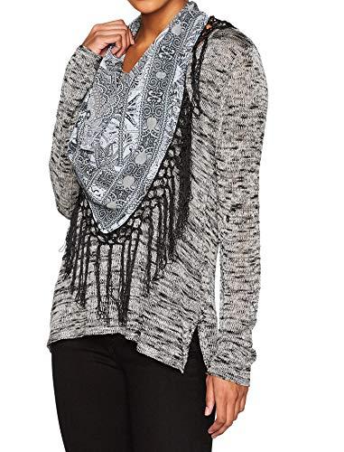 ONEWORLD Damen Langarm-Pullover mit Fransenschal - Schwarz - 1X