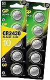 GP CR2430 3V - Pack de 10 Pilas CR 2430 de Litio botón | Litio Puro, Mayor Rendimiento y duración | Sin Mercurio | Pack Compuesto por 1 blíster de 5 Pilas CR2430 / DL2430 envasadas Individualmente