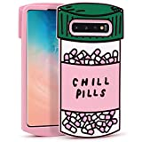 Megantree Cute case for Samsung Galaxy S10 Plus Case, Galaxy S10+ Case, Funny 3D Cartoon Chill Pills Capsule Bottle Shaped Soft Silicone Full Protection Shockproof Cases Cover for Kids Girls Women