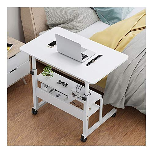 AFSDF Deluxe Laptop Computer Mobile Cart Overbed Table With Castors/Table/Stand Mobile Folding Table With Pulley overbed table tilt (Color : White, Size : 60x40cm)